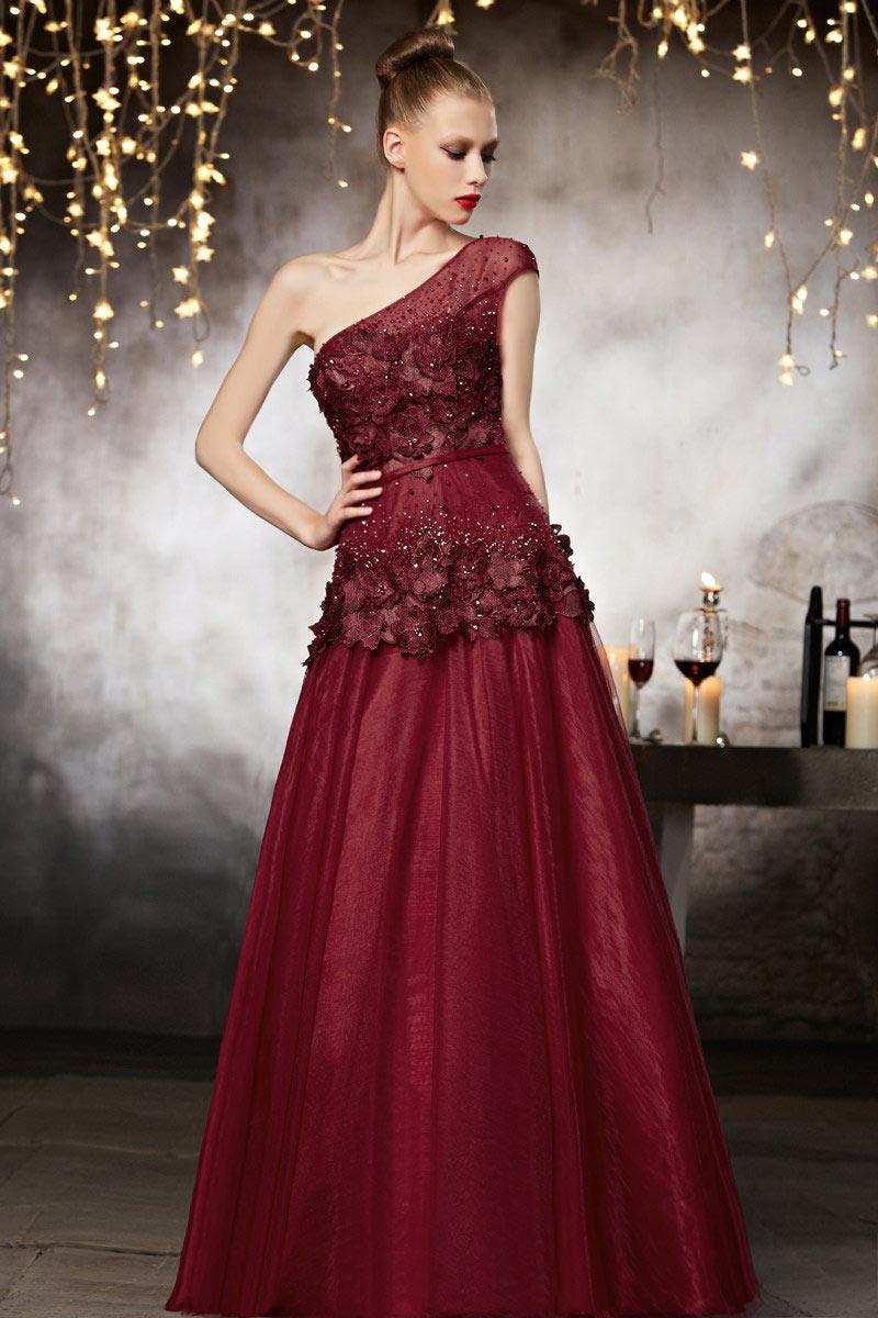 Bien connu Robe haute couture rouge en tulle à encolure asymétrique - Persun.fr KH01