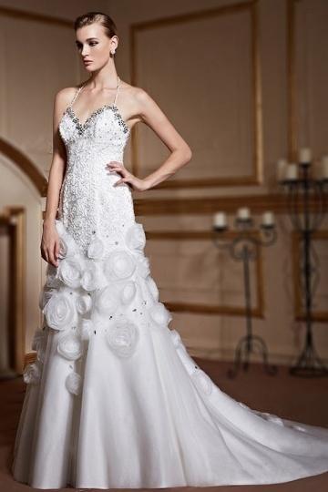 Robe de mariée trompette avec bretelles fines tour de cou jupe ...