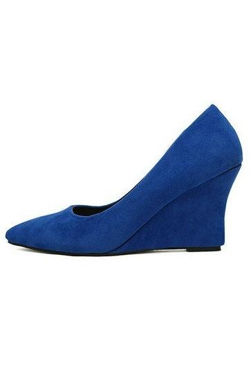 Escarpins compensés bleus bout pointu