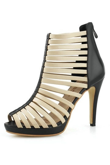 sandales spartiates beiges talons aiguilles en cuir. Black Bedroom Furniture Sets. Home Design Ideas
