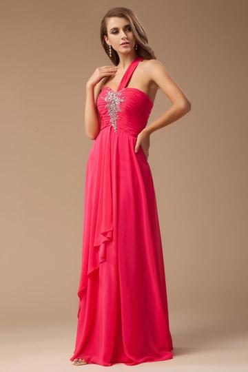 One shoulder Cherry One-shoulder Long Prom dress
