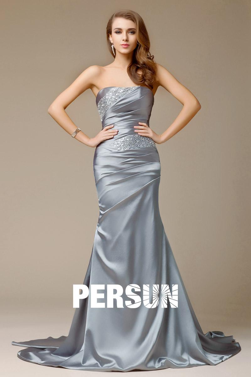 robe grise longue de soie et satin