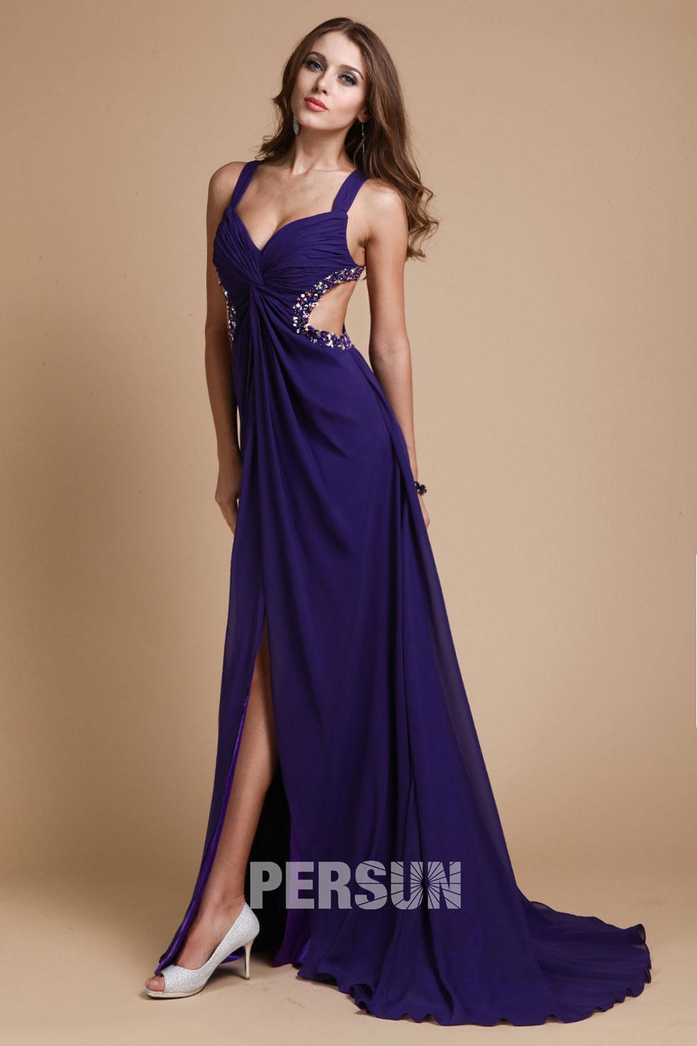 robe longue ajouré violette