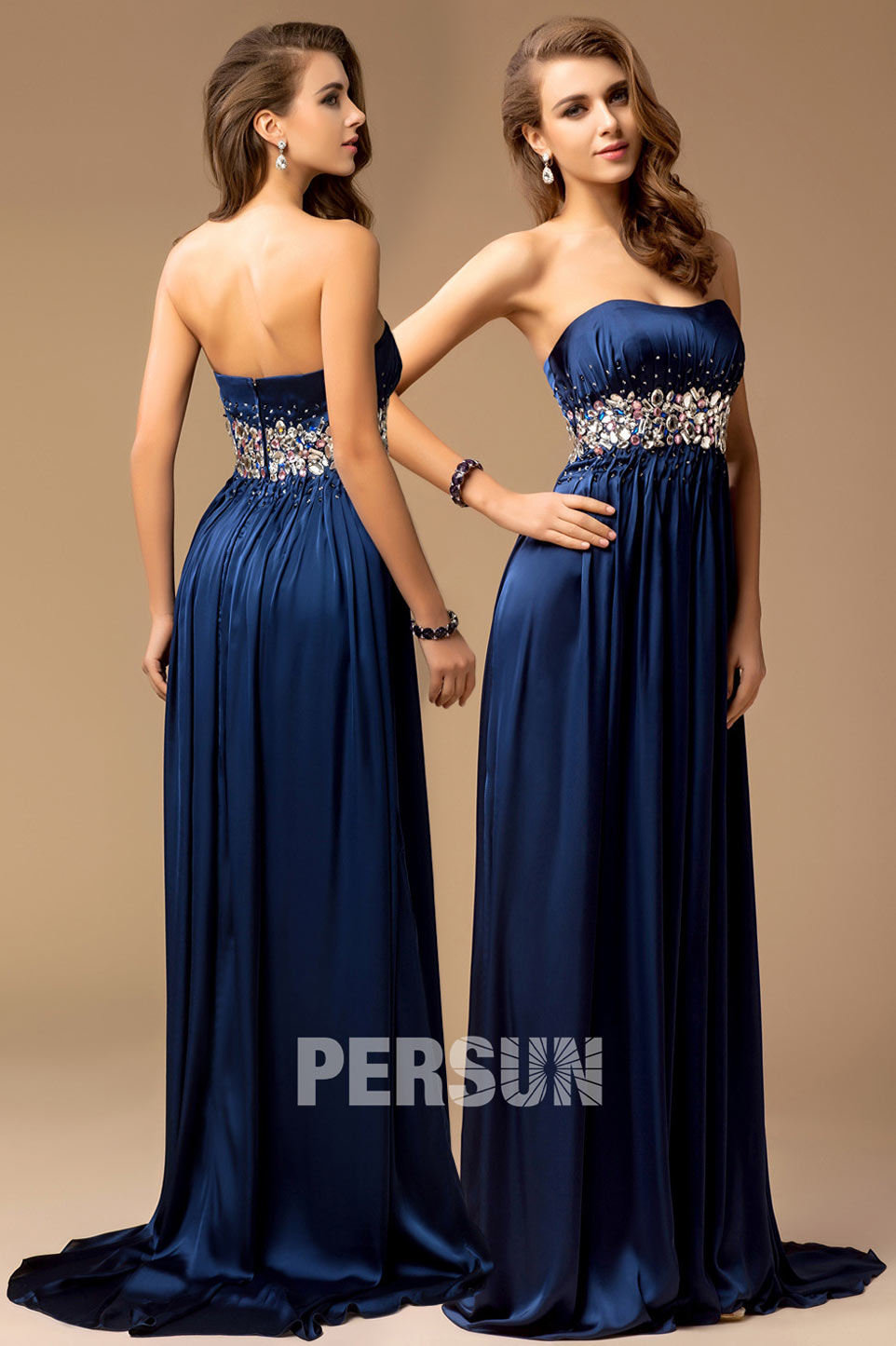 robe habillée royale bleu longue à taille bijouté