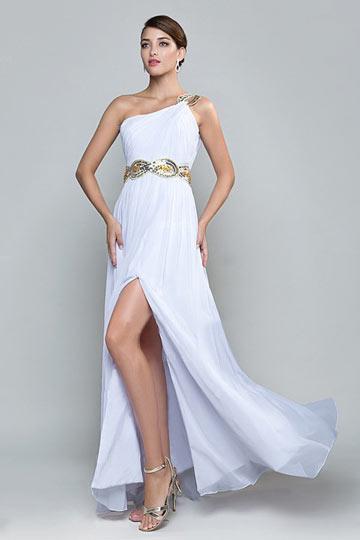 Ein Schulter Schlitz weißes Abendkleid
