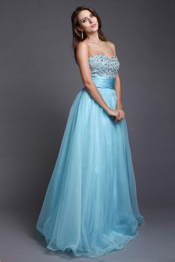 Robe de bal princesse bustier en organza Azurin bustier coeur ornée de bijoux