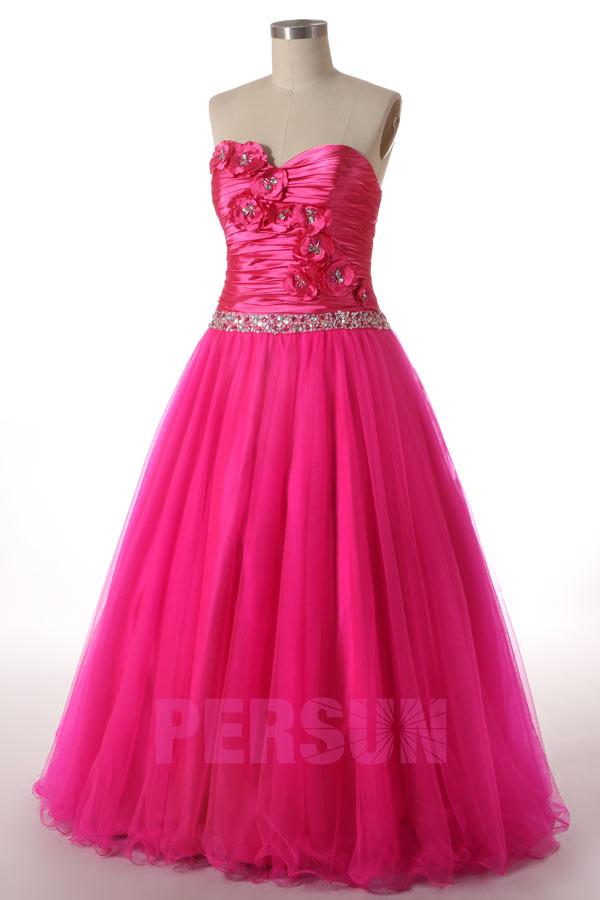 Robe bal d'ouverture mariage couleur rose fuchsia en tulle