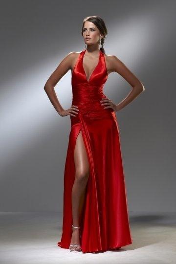Robe soirée fendue Sexy rouge