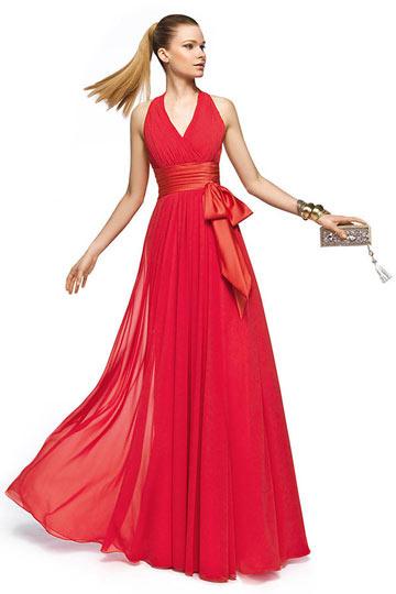 robe rouge empire avec bretelle ceinturée nœud papillon