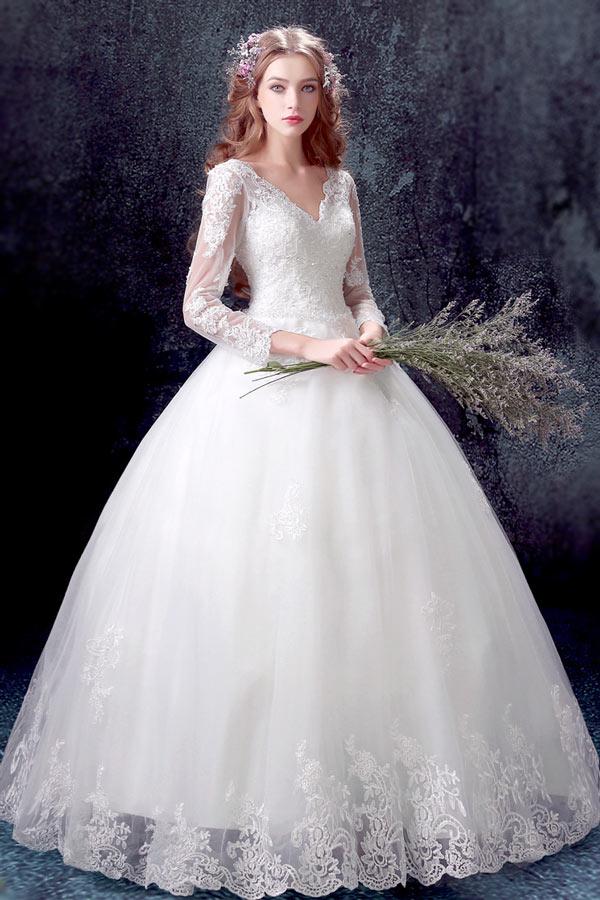 Robe blanche manche longue dentelle