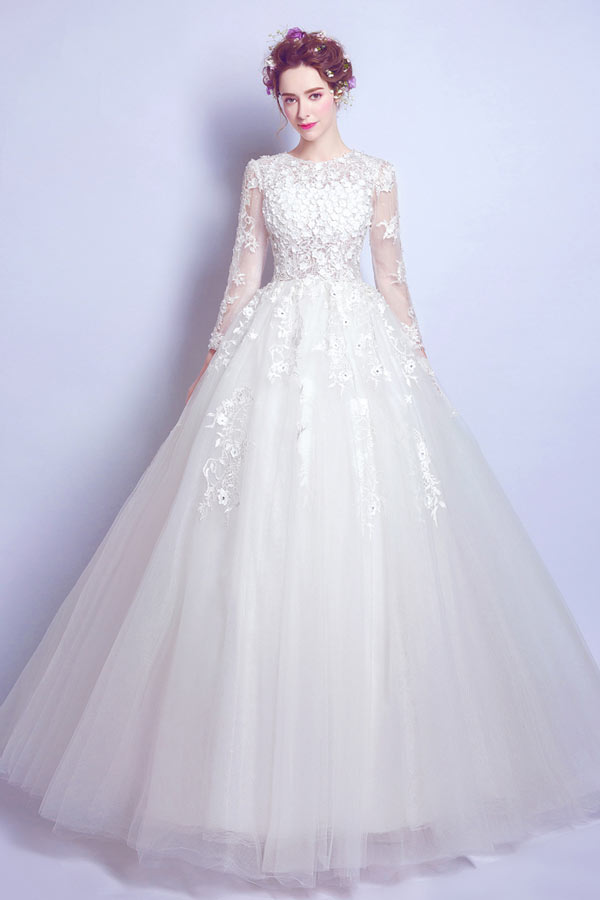 ... Robe de mariée moderne Robe mariée 2017 princesse vaporeuse manches