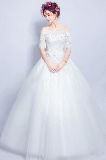 Robe mariée 2017 princesse épaule découverte avec manches