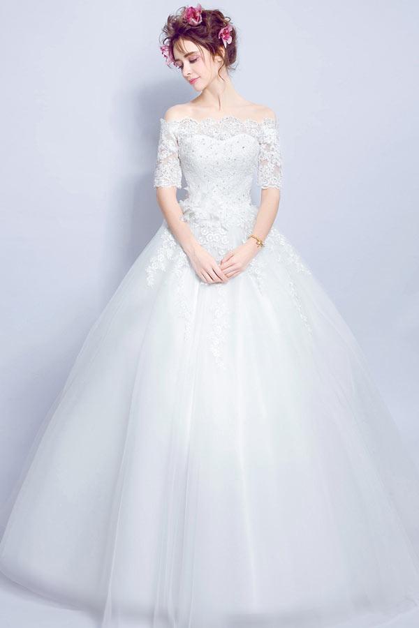 robe mari e 2017 princesse paule d couverte avec manches