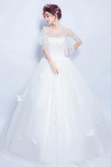 Royale robe de mari¨¦e 2017 princesse cape fleurie