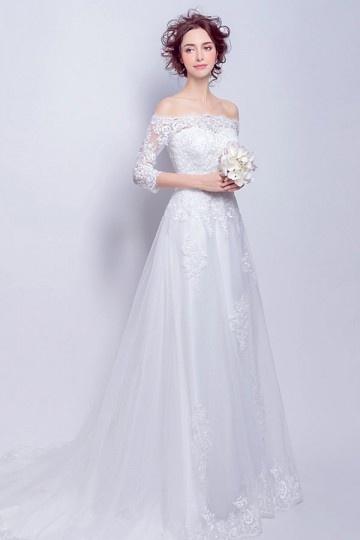Robe de mariée 2017 encolure bateau manches trois quart en dentelle