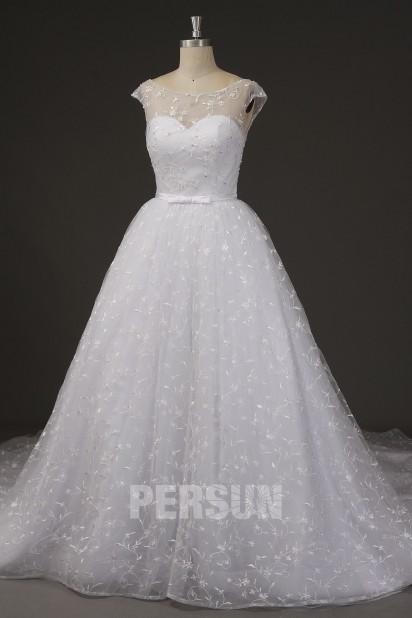 vintage Robe de mariée dentelle col oval