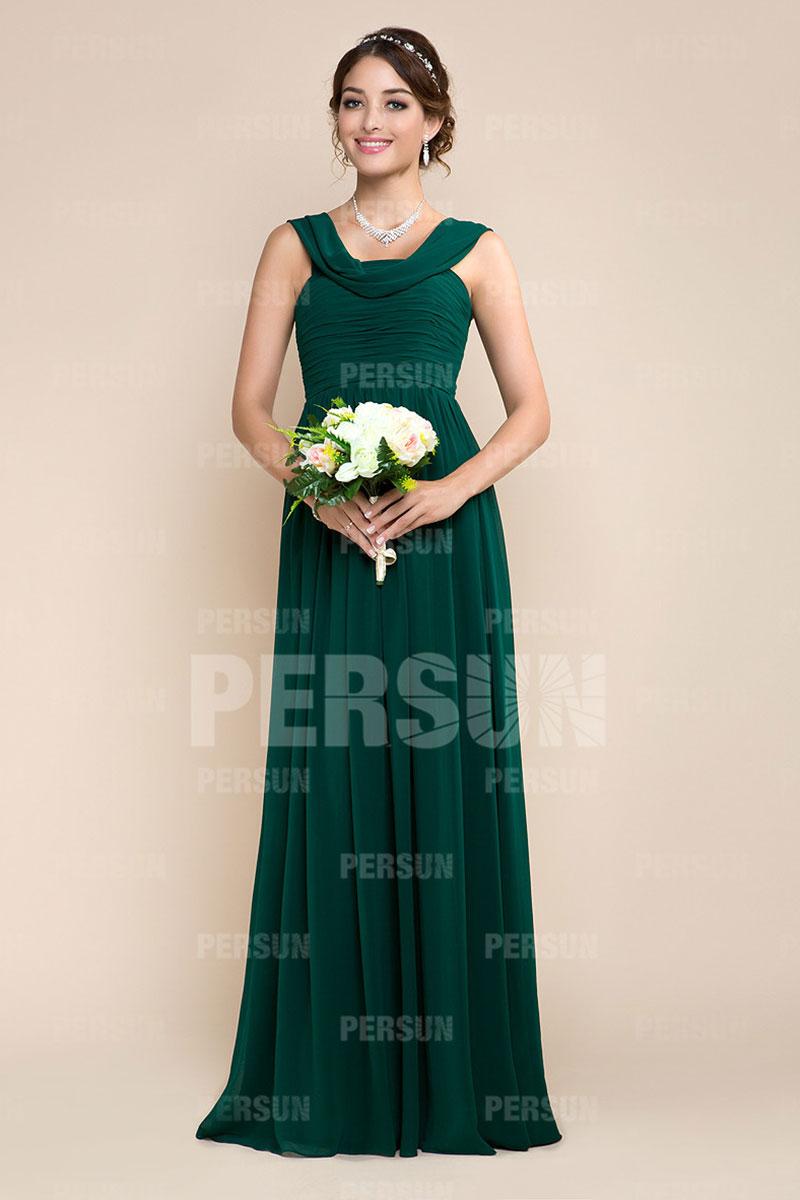 Robe pour cocktail mariage longue en mousseline verte for Robe vert aqua pour mariage
