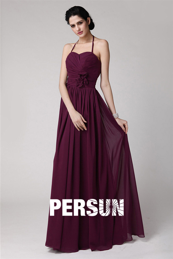 Robe chic prune longue à bretelle fine