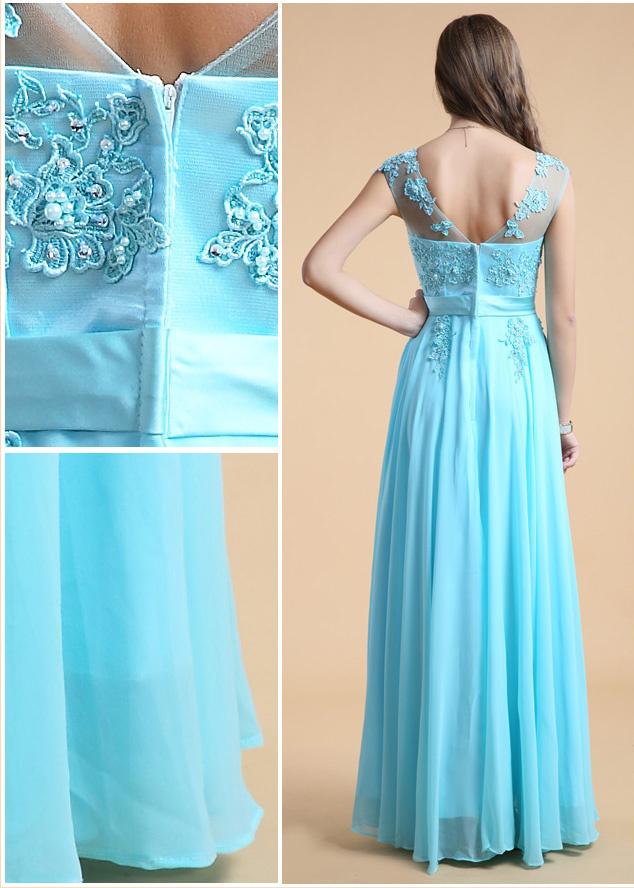 robe de soirée turquoise dos décolleté en v