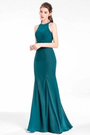 Robe sirène verte pour cortège de mariage