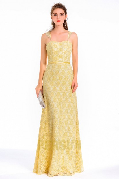 robe de soirée jaune longue avec bretelle fine dentelle