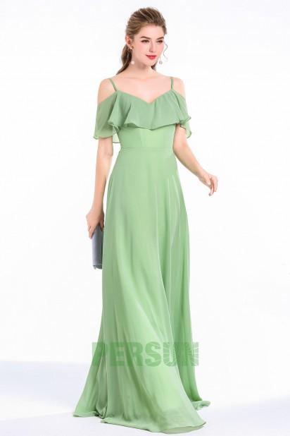 Robe de soirée verte longue pour femme ronde