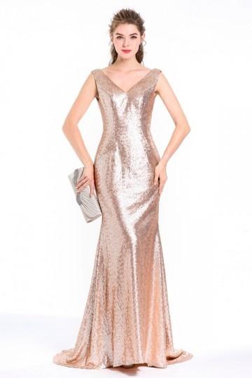 Robe soirée sirène chic en sequin champagne doré