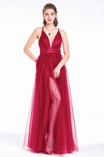robe de soirée rouge sexu longue col en V