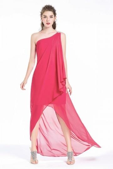 Robe asymétrique courte devant couleur framboise ourlet irrégulier pour cocktail