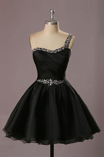 Robe de bal courte asymétrique noire ornée de strass à jupe évasée