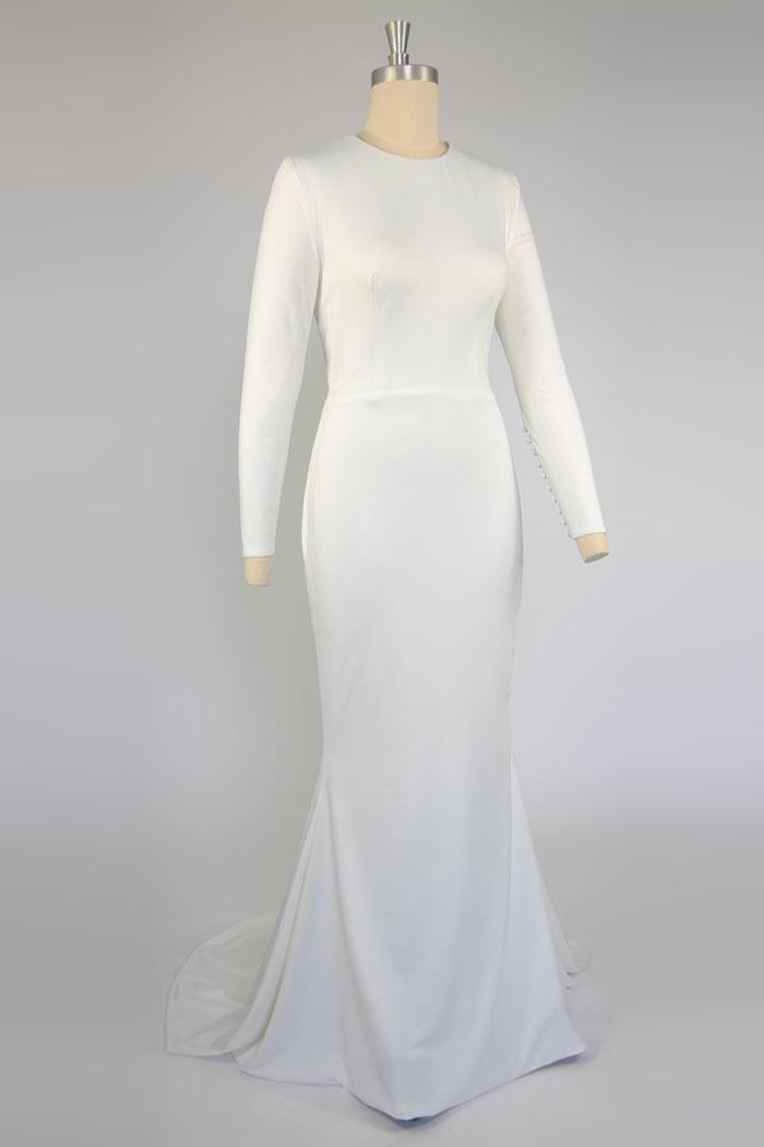 ... de mariée 2015 Robe de mariée cintrée style simple à manche longue