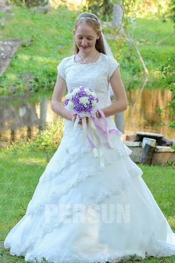 Robe mariage de princesse avec manches courtes vintage