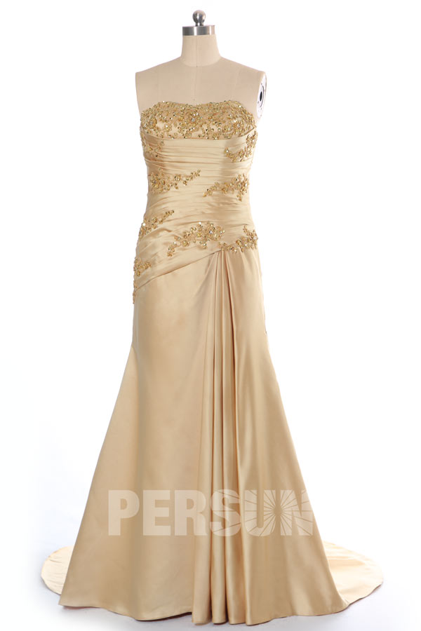 robe de ceremonie mariage trompette en satin dore persunfr With robe trompette mariage