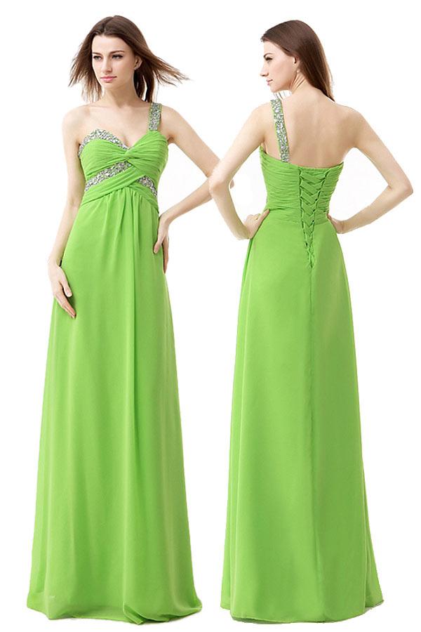 Robe de soiree longue vert anis