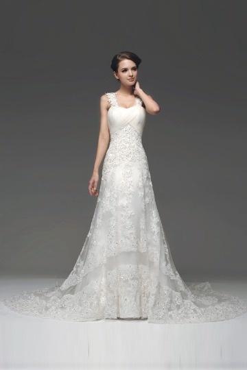Robe de mariée 2017 blanche plissée avec bretelles dentelle