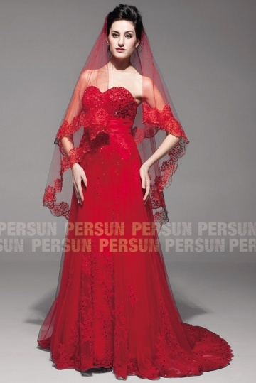 Red A-line Wedding Dress with Red veils