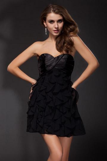 Sexy petite robe noire en Mousseline bleu sans bretelle à froufrou