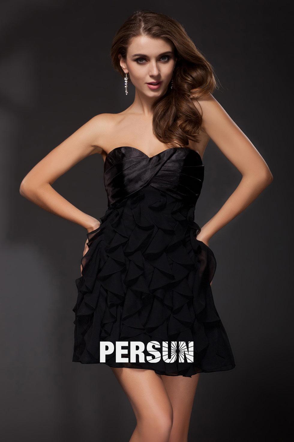sexy-petite-robe-noire-en-mousseline-bleu-sans-bretelle-a-froufrou