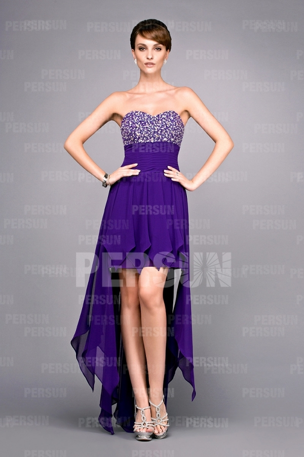 High low Purple Evening gown with beaded bodice