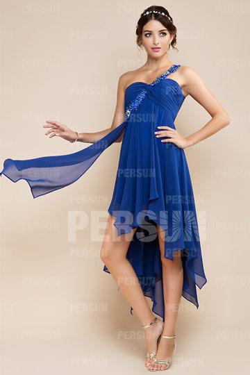 Robe de bal bleu courte style bascule en Tencel bretelle brodée
