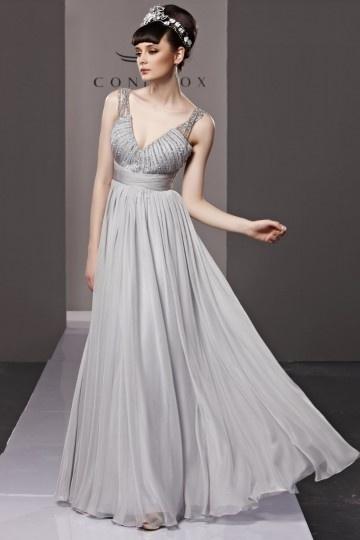 Fox robe grise de soirée col en v ornée de strass en tencel