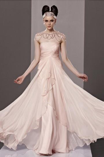 Robe rose de soirée bustier empire à volants en tencel