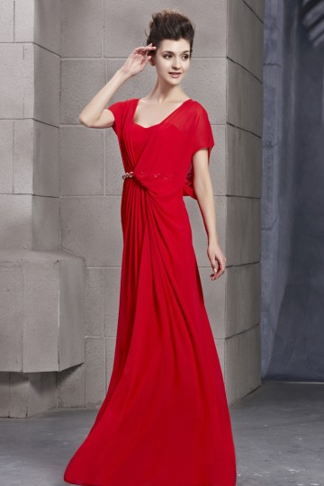 robe rouge de soir e d collet carr avec manche chauve souris. Black Bedroom Furniture Sets. Home Design Ideas