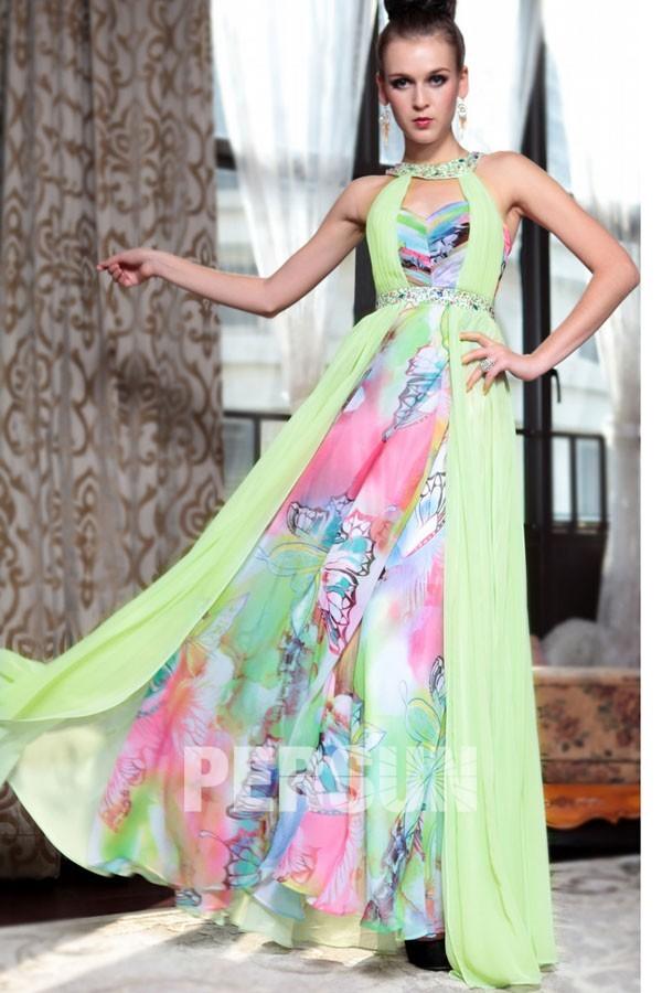 robe longue imprime de soire empire orne de bijoux colors - Robe Longue Colore