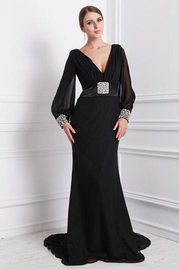 Sexy Robe soirée noire col en V profond ornée de bijoux