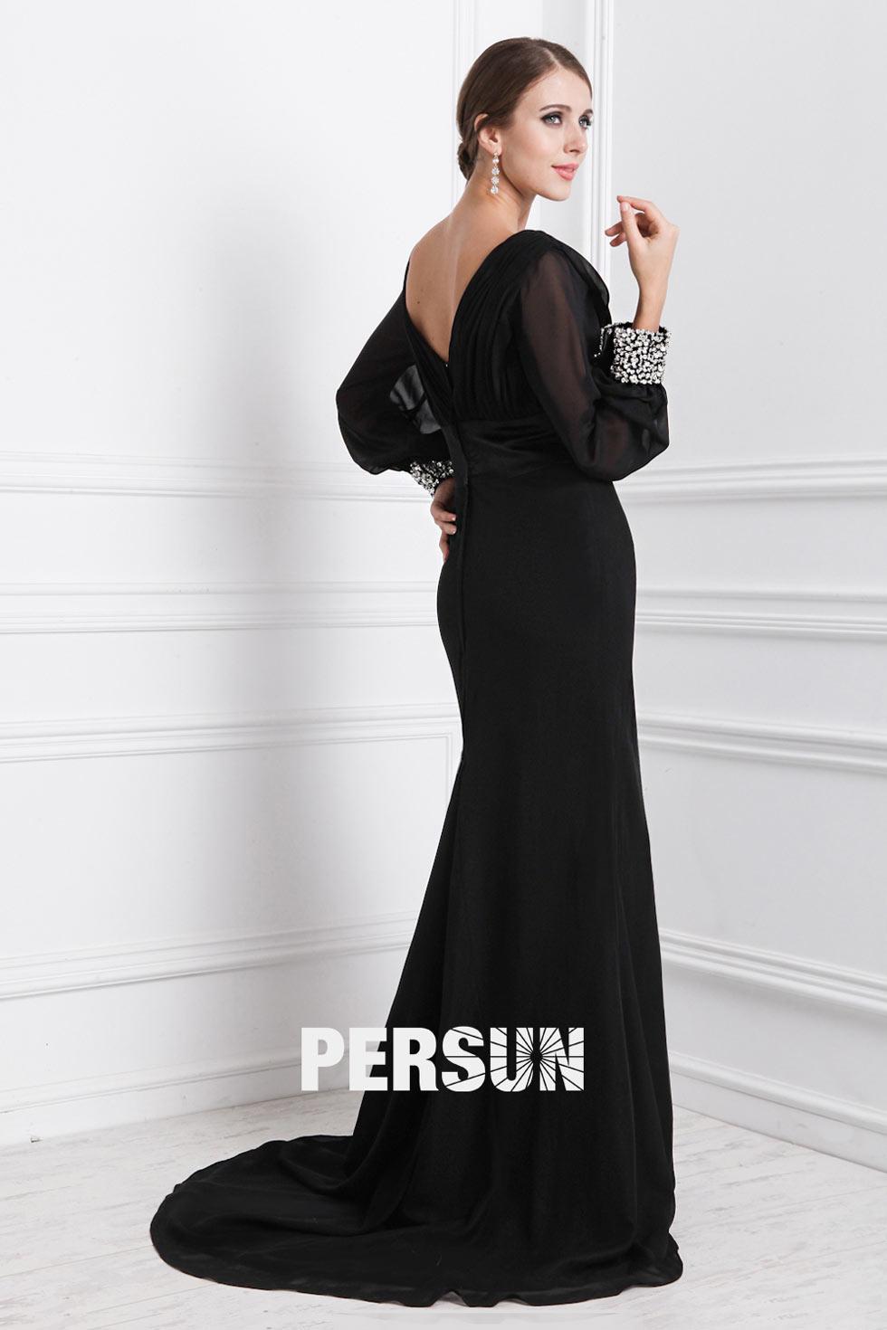 noire robe soirée col V avec manches longues