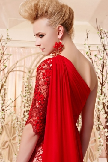 robe rouge chic empire broderie paillet e en tencel. Black Bedroom Furniture Sets. Home Design Ideas