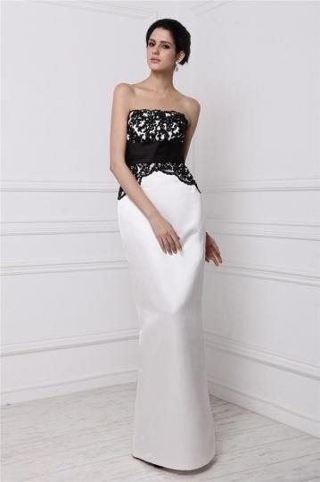 robe noire et blanche bustier droite pour invit e. Black Bedroom Furniture Sets. Home Design Ideas