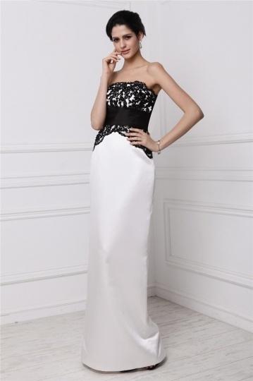 robe noire et blanche bustier droite pour invite mariage - Robe Noire Invite Mariage