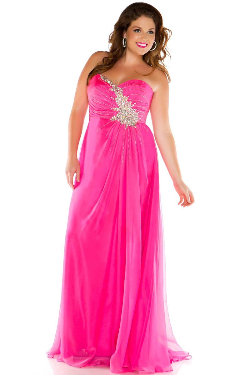 Robe de bal de promo rose bonbon bustier coeur tencel strass - Tenue bal de promo ...